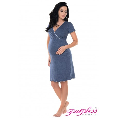 Pregnancy and Nursing Nightdress 1055n Indigo Jeans Melange
