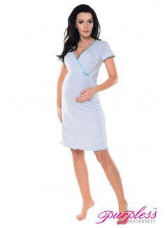 Pregnancy and Nursing Nightdress 1055n Light Gray Melange Aqua