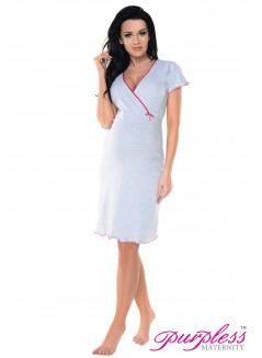 Pregnancy and Nursing Nightdress 1055n Light Gray Melange Pink
