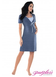 Pregnancy and Nursing Nightdress 4044n Indigo Jeans Melange