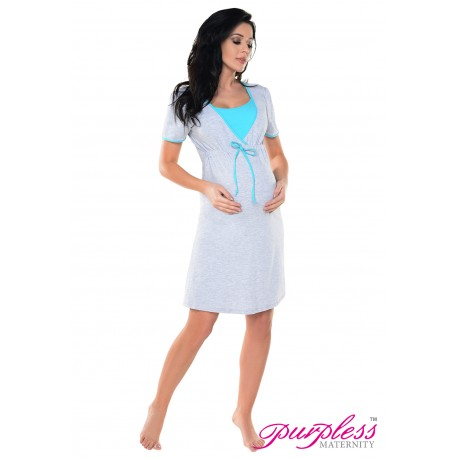 Pregnancy and Nursing Nightdress 4044n Light Gray Melange Aqua