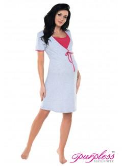 Pregnancy and Nursing Nightdress 4044n Light Gray Melange Pink