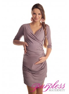 Ruched Side Dress 6408 Cappuccino