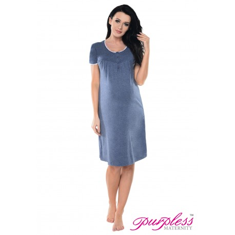 2in1 Lace Finish Nightdress 6066n Indigo Jeans Melange