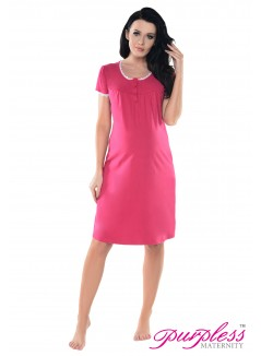 2in1 Lace Finish Nightdress 6066n Dark Pink