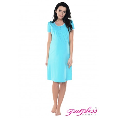 2in1 Lace Finish Nightdress 6066n Aqua Blue