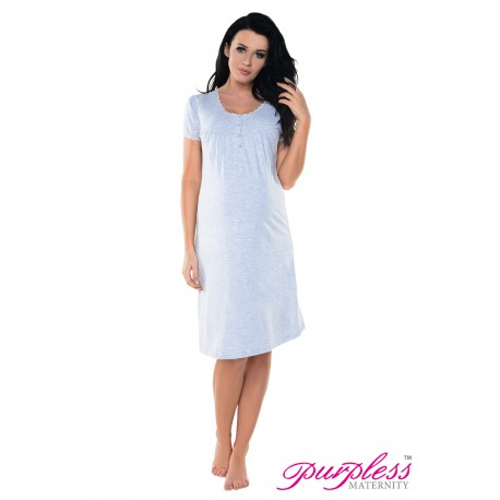 2in1 Lace Finish Nightdress 6066n Light Gray Melange