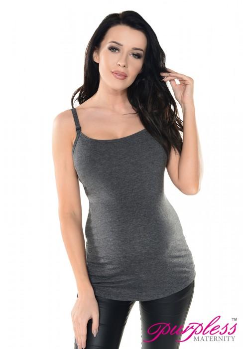 e17c7e7ed8f29 Purpless Maternity Discreet Nursing 2in1 Cami Vest Top 8028 Graphite ...