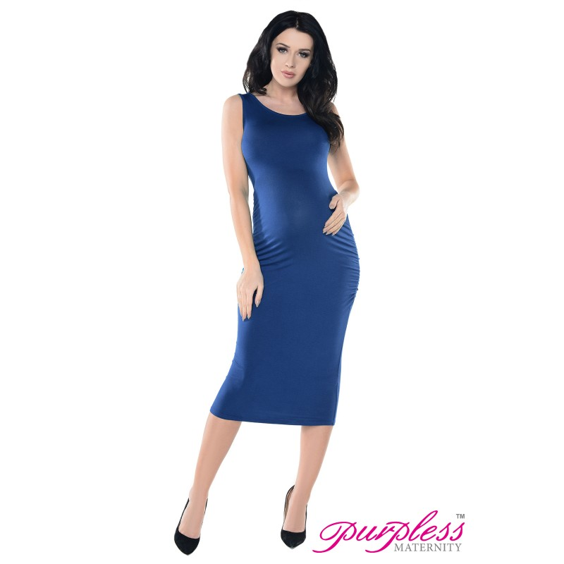 de2a222b4a Sleeveless Jersey Ruched Pregnancy Midi Dress D8130 Jeans
