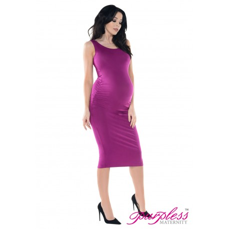 Sleeveless Jersey Midi Dress D8130 Dark Pink