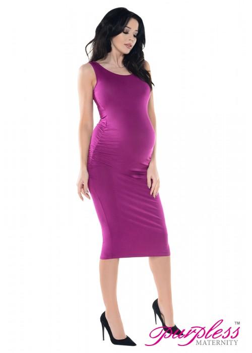 Sleeveless Jersey Ruched Pregnancy Midi Dress D8130 Dark Pink