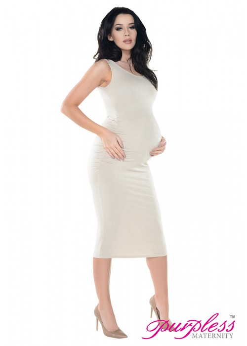 4cd9437ece9690 Sleeveless Jersey Ruched Pregnancy Midi Dress D8130 Beige