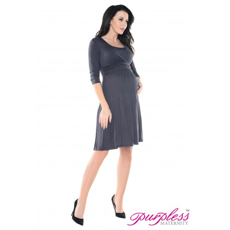 2in1 Pregnancy and Nursing Skater Dress 7240 Graphite