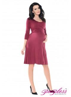 2in1 Pregnancy and Nursing Skater Dress 7240 Burgundy