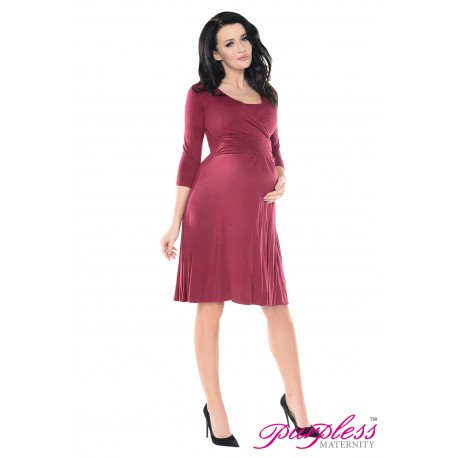 2in1 Pregnancy and Nursing Skater Dress 7240 Burgundy