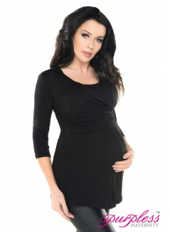 2in1 Pregnancy and Nursing Wrap Front Style Top 7049 Black