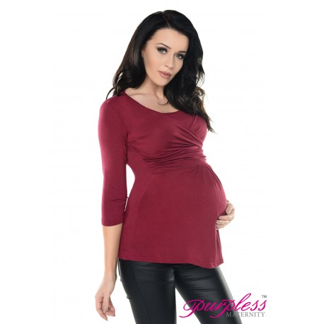 2in1 Pregnancy and Nursing Wrap Front Style Top 7049 Burgundy