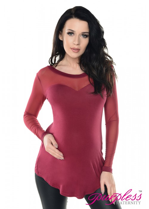 Heart Shaped Long Sleeve Top D020 Graphite