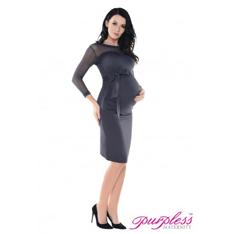 Heart Shaped Cleavage Pregnancy Dress D012 Graphite