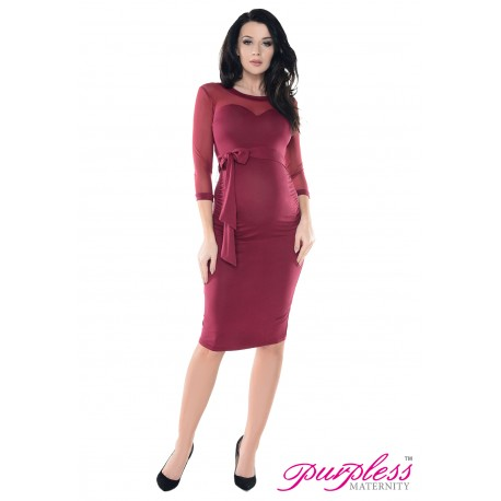 Heart Shaped Cleavage Pregnancy Dress D012 Burgundy