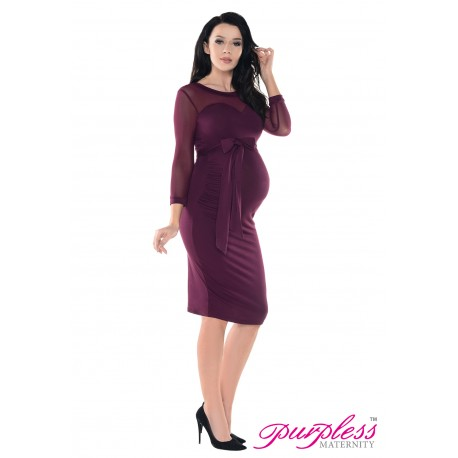 Heart Shaped Cleavage Pregnancy Dress D012 Plum