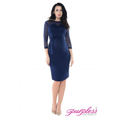 Heart Shaped Cleavage Pregnancy Dress D012 Navy