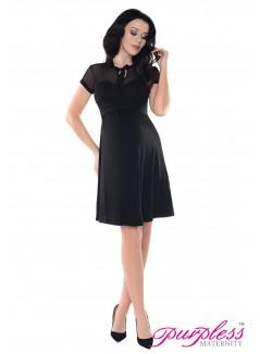 Keyhole Bow Tie Pregnancy Dress D016 Black