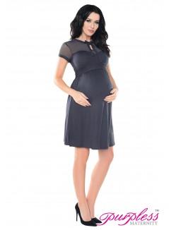 Keyhole Bow Tie Pregnancy Dress D016 Graphite