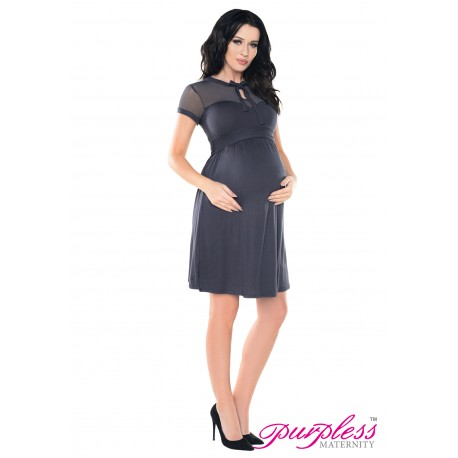 Keyhole Bow Tie Pregnancy Dress D016 Graphite
