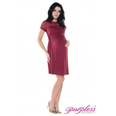 Keyhole Bow Tie Pregnancy Dress D016 Burgundy