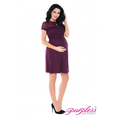 Keyhole Bow Tie Pregnancy Dress D016 Plum