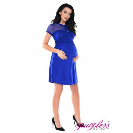 Keyhole Bow Tie Pregnancy Dress D016 Royal Blue