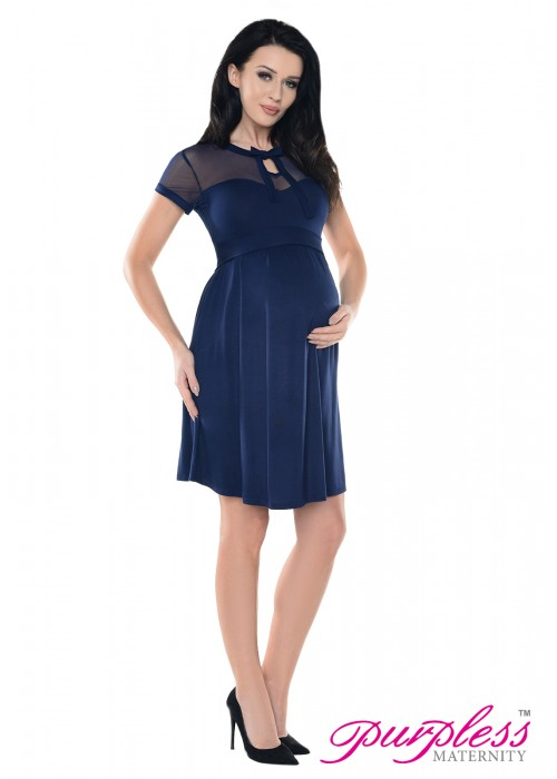 Keyhole Bow Tie Pregnancy Dress D016 Navy