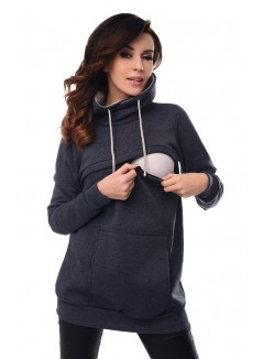 2in1 Cowl Neck Sweatshirt B9054 Navy Melange