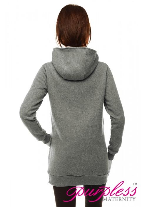 2in1 Cowl Neck Sweatshirt B9054 Gray Melange