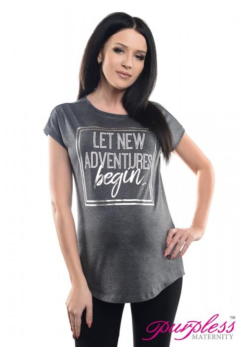 Slogan Print Boyfriend Fit Tee 2201 Graphite Melange