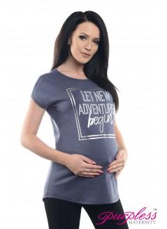 Slogan Print Boyfriend Fit Tee 2201 Indigo Jeans Melange