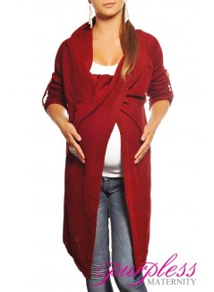 Maternity Cardigan 9001 Burgundy