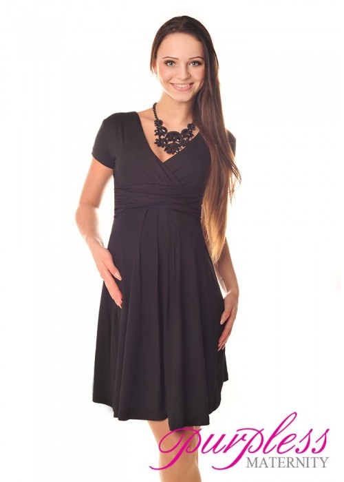 Short Sleeve Summer Dress 8417 Black Purpless Ltd