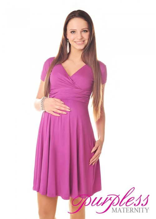 Short Sleeve Summer Dress 8417 Dark Pink