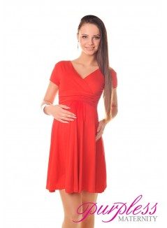 Short Sleeve Summer Dress 8417 Red