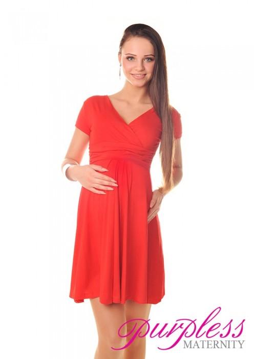 Short Sleeve Summer Dress 8417 Red