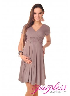 Short Sleeve Summer Dress 8417 Cappuccino