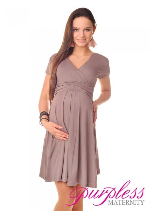 Short Sleeve Summer Dress 8417 Cappuccino