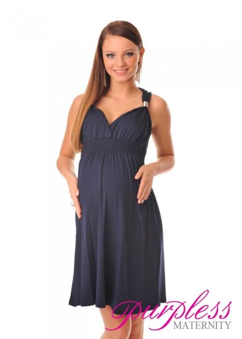 Maternity Summer Party Sun Dress 8423 Navy