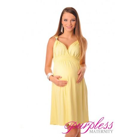 Maternity Summer Party Sun Dress 8423 Yellow