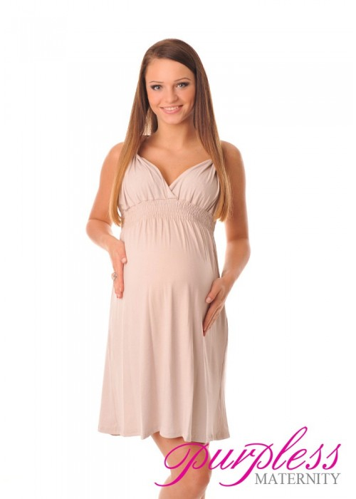 Maternity Summer Party Sun Dress 8423 Beige