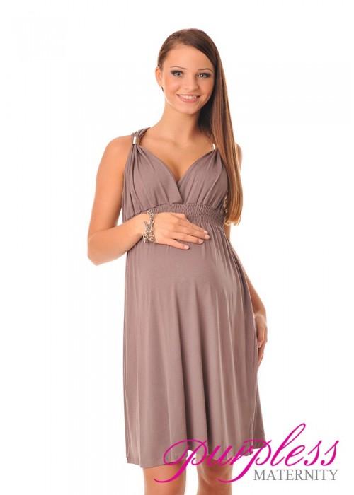 Maternity Summer Party Sun Dress 8423 Cappuccino