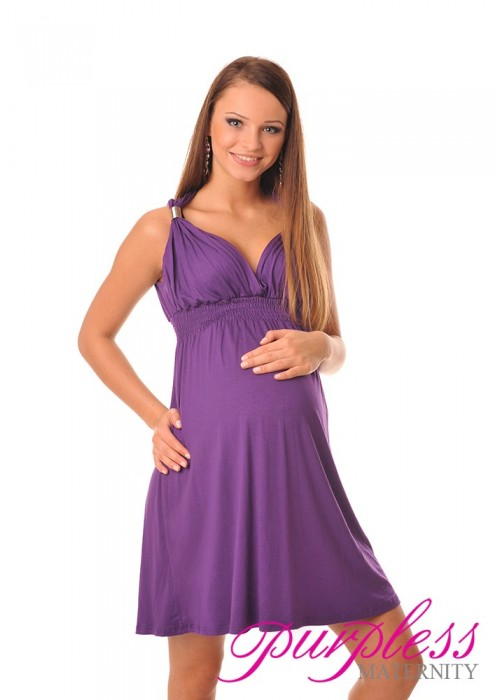 Maternity Summer Party Sun Dress 8423 Violet