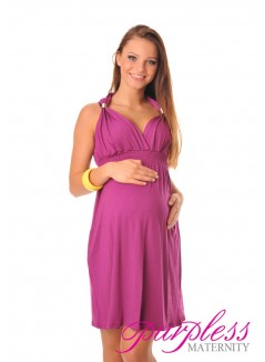 Maternity Summer Party Sun Dress 8423 Dark Pink